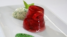 Champagne and Raspberries Jelly with Fresh Mint Cream