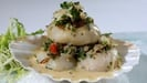 Seared Scallops with Crab Gratin & Buerre Blanc