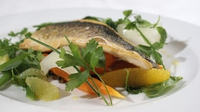 Fillet of Sea Bass with Wild Rice and a Citrus Vinaigrette - A tangy and flavoursome way to prepare sea bass.