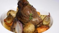 Roasted Crown of Lamb filled with Root Vegetables - Make the perfect Easter Sunday roast with this tender lamb dish.