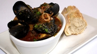 Portuguese Mussels and Squid - One of Mary Wilson's starters on the RTÉ One series 'The Restaurant'.