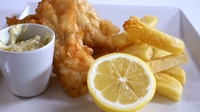 Tempura Cod with Chips - One of Mary Wilson's main courses on the RTÉ One series 'The Restaurant'.
