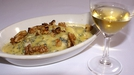 Gratin of Comice Pears, with Cashel Blue, Walnuts and Glass of 5 Puttonyos Tokaji - Cooked by Dermot O'Neill on RTÉ's 'The Restaurant'.