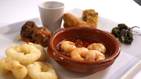 Selection of Best Spanish Tapas with a Glass of Lustau Puerto Fino Sherry - A beautiful dish cooked by Gillian Bowler on RTÉ's 'The Restaurant'.