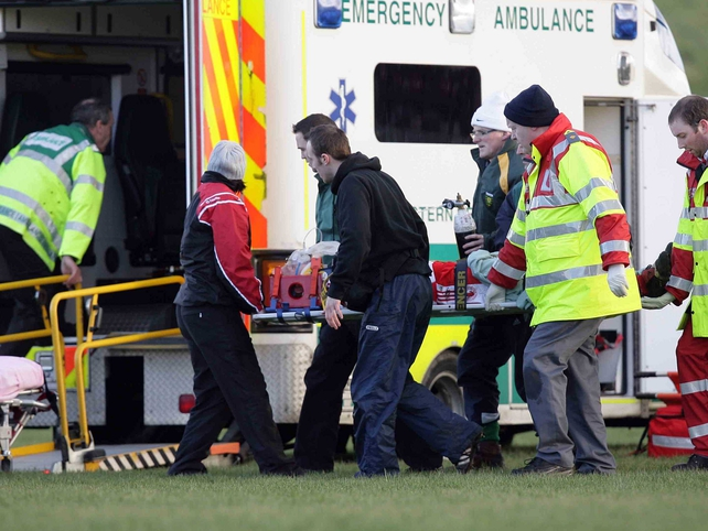 Tyrone's Aidan McCarron was taken to hospital during the first half