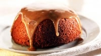 Sticky toffee pudding with dates, pears and crème fraîche - You'll need a food processor, to make it all easy, and a 24cm non-stick cake tin with spring-back sides.
