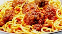 Homemade Meatballs and Spaghetti Dressed with Tomato Sauce - A great quick and cheap main course.