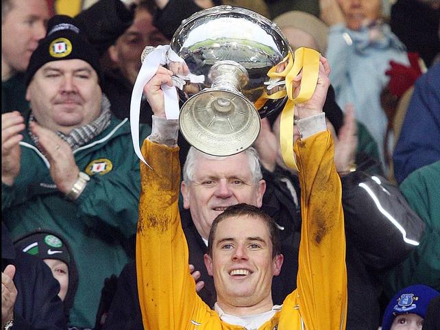 Sean Delargy raises the Walsh Cup