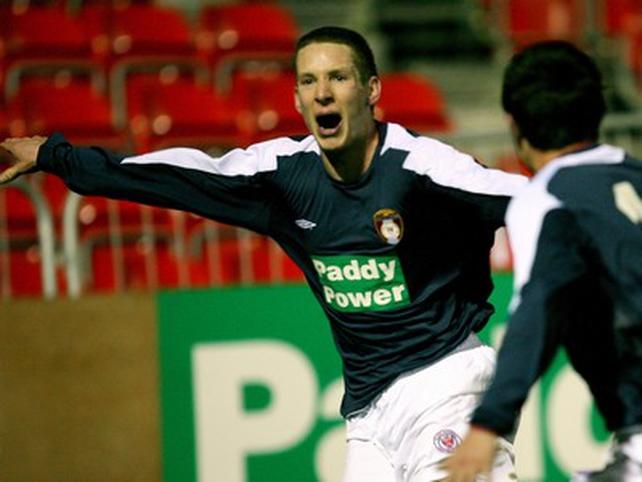 Sligo Rovers' Jamie McKenzie celebrates his opener in the controversial Pat's away jersey