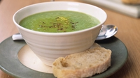 Pea and Ham Soup with Sesame Sticks - A flavoursome soup that's easy-peasy to make!