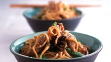 Crispy Pork Belly in a Honey Marinade with Noodles