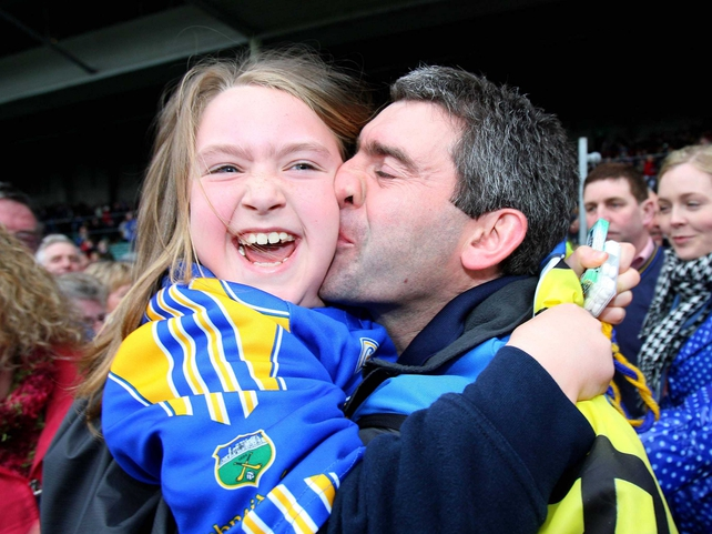 Liam Sheedy celebrates Tipp's success with his daughter