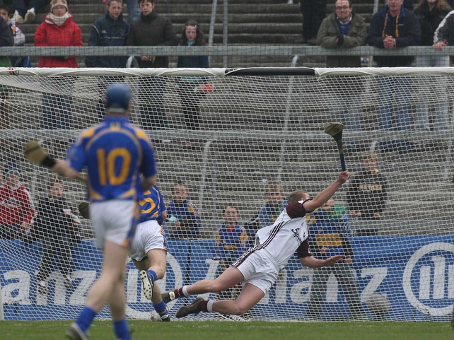 Willie Ryan rifles home a goal for Tipperary this afternoon