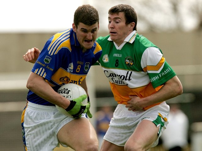 Ciaran McManus scored Offaly's first goal in Portlaoise today