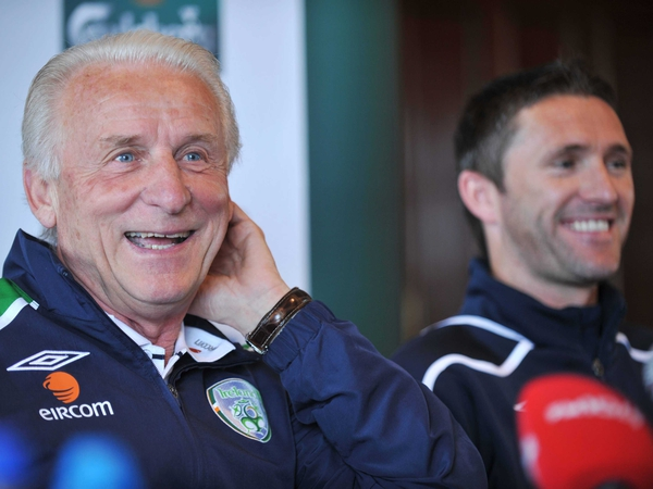 Giovanni Trapattoni was in a relaxed mood as he faced the media with captain Robbie Keane today