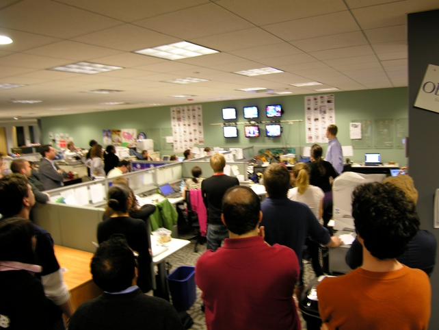 Obama Headquarters - Campaign workers watch last night results coverage in Chicago