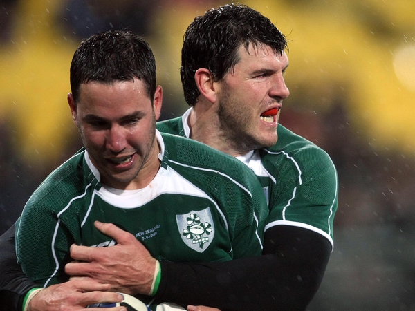 Shane Horgan congratulates Paddy Wallace on his try