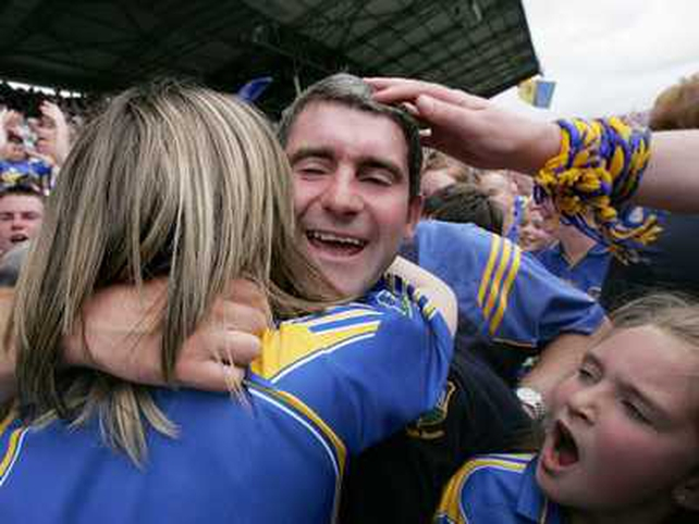 Tipperary manager Liam Sheedy celebrates a historic victory with his daughter Aisling and niece Deirdre