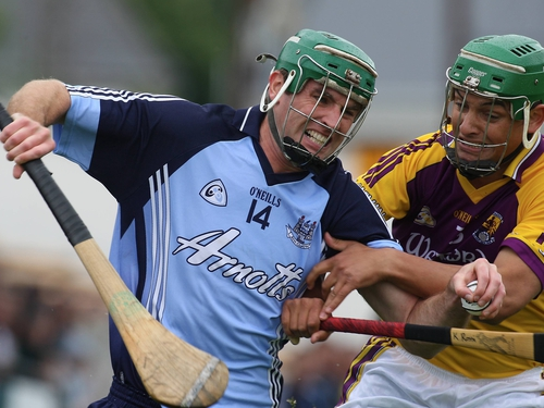 Dublin's John Kelly and Keith Rossiter of Wexford tussle for posession in Kilkenny