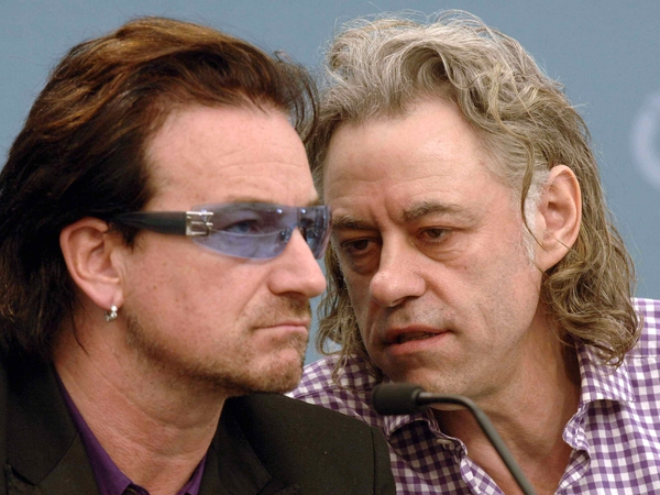 Bono and Geldof - Worked together on Live 8 in 2005