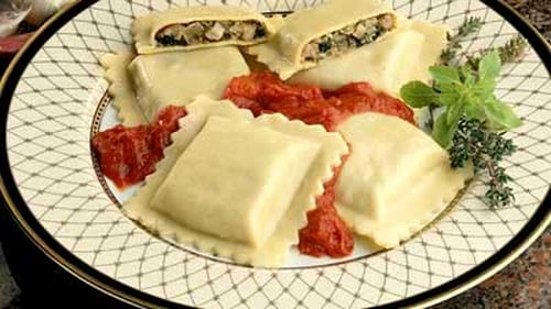 Richard Corrigan's Ravioli with Ricotta and Spinach Filling, Served with a Tuscan Tomato Sauce
