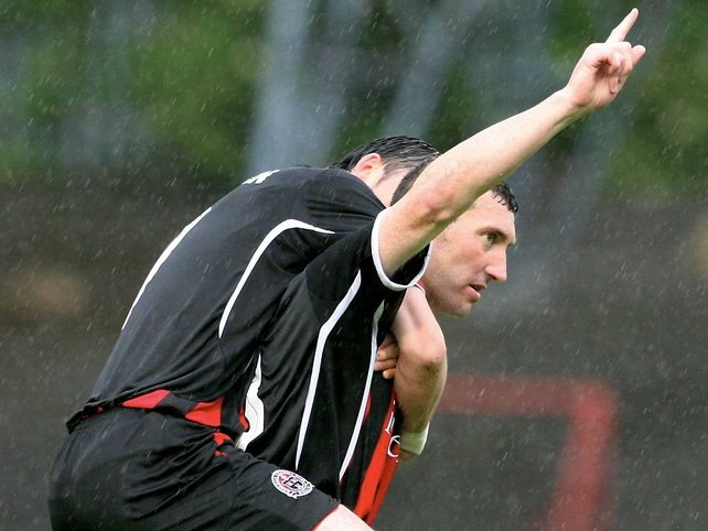 Jason Byrne celebrates scoring one of Bohemians' goals in their rout of Rhyl