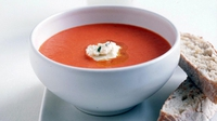 Thick Tomato And Garlic Soup With Fromage Frais - This soups is made with simple, fresh ingredients.