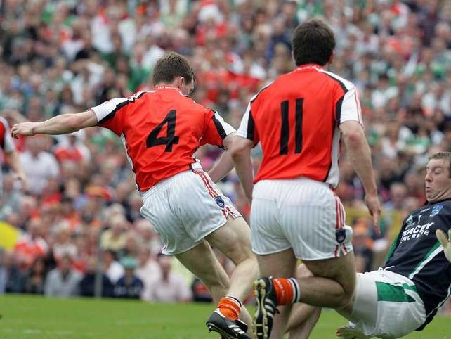 Armagh's Finnian Moriarty strikes for a rare goal