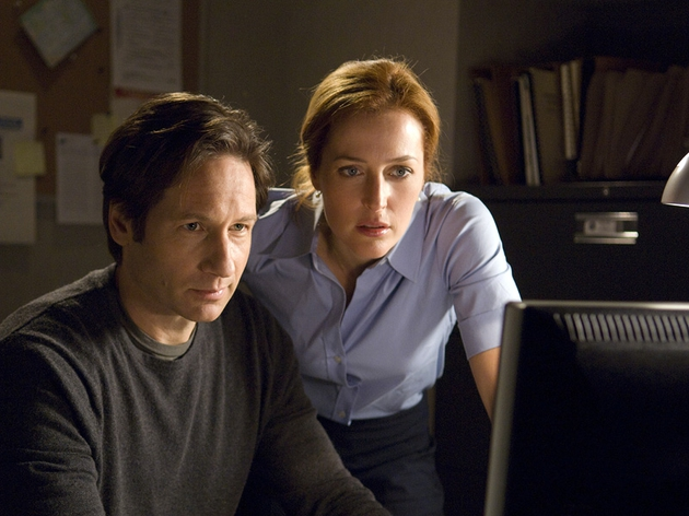 David Duchovny and Gillian Anderson as Mulder and Scully
