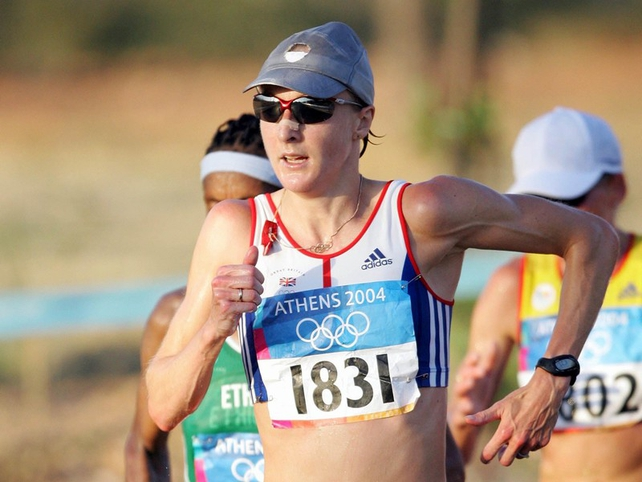 Paula Radcliffe pulled out of the 2004 Olympic marathon suffering from pain and exhaustion