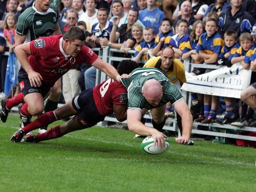 Leinster's Bernard Jackman goes over for a try