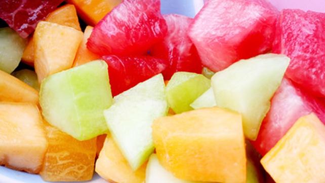 Fruit Skewers with Yogurt Dip and Hazelnut Crumble