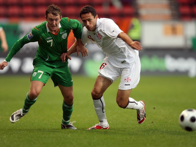Aiden McGeady gave Georgia's George Shashiashvili a torrid time in the first half