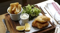 Beer Battered Organic Pollock Fish and Spicy Chips - Serve your pollock and chips with homemade tartar sauce and citrus vinegar.