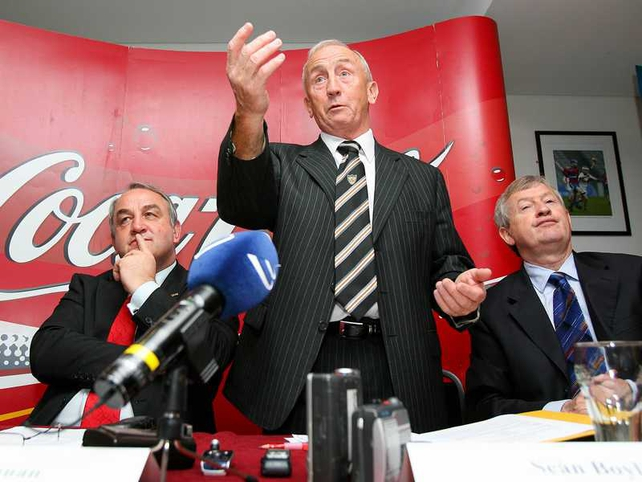 Boylan speaks to the media at a press conference at Croke Park this morning