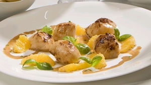 Scallops with Salty Orange & Basil