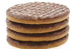 Is the chocolate on the top of the biscuit or the bottom?