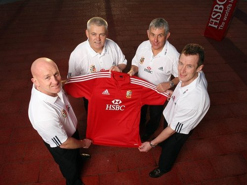 Ian McGeechan with Warren Gatland, Shaun Edwards and Rob Howley in Dublin today