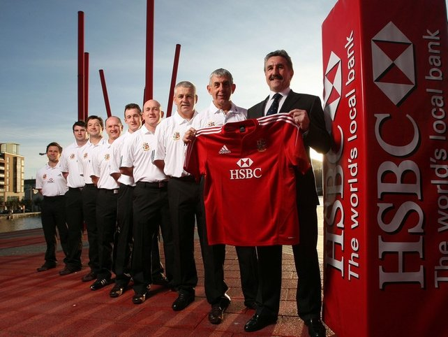 Tour manager Gerald Davies with the full Lions coaching team in Dublin this afternoon