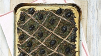 Pissaladiere - Rachel Allen's French dish is like an oniony pizza. The base can also be made with puff pastry, which does not need pre-baking. French Niçoise olives are best on top, but Greek and Italian will do just as well. Pissaladière is perfect for a summer lunch, served with a crisp green salad.