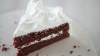 Red Velvet Cake - Rachel's delicious cake has layers of vampy red cake contrasting with snowy white frosting.