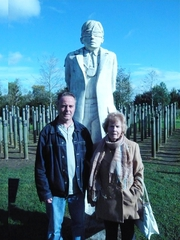 Some of the O'Callaghan family visit their executed relative Patrick Downey's memorial 'post' at the National Memorial Arboretum has been set up at Alrewas, in Staffordshire, UK.