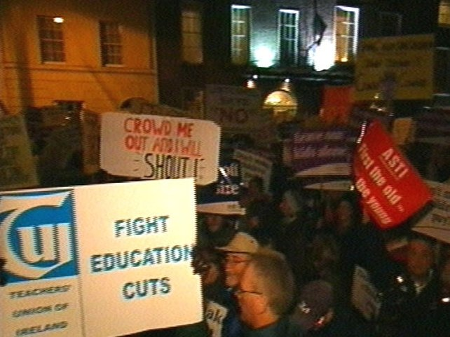 Kildare Street - Protest over Budget cutbacks