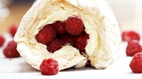 Coconut meringue roulade with lemon curd cream and raspberries - Rachel's meringue roulade makes a wonderful summer dessert.