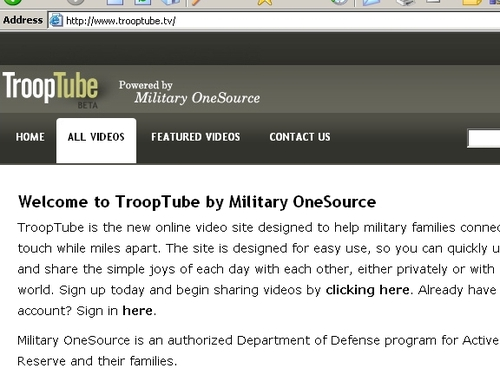TroopTube - Pentagon launches website