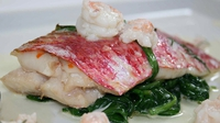 Baked Red Mullet with Prawns - Michael Healy-Rae serves up red mullet and prawns in a delicious white wine sauce.