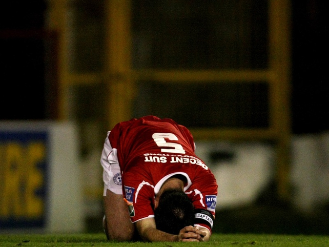Shelbourne captain Damien Brennan was dejected at the final whistle