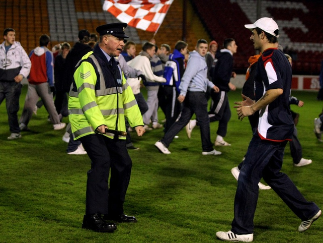 Some Shels fans invaded the pitch after the end of the game