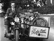 Stanley Woods Forgotten Hero:Stanley on his advertising bike