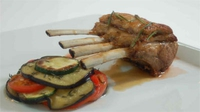 Roast Rack of Lamb with Provencal Vegetables - Des Cahill dishes up a delicious main course of Lamb and vegetables.